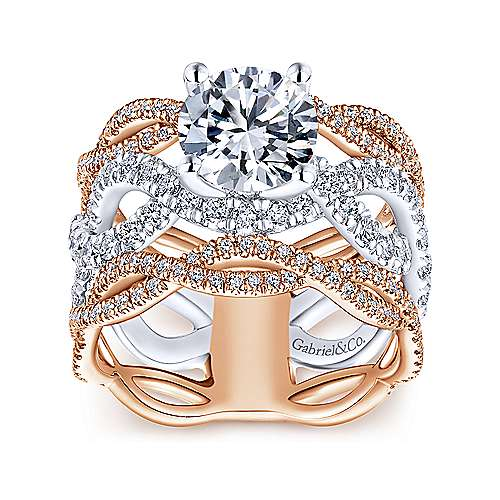 Calm 18k White And Rose Gold Round Twisted Engagement Ring angle 5