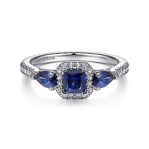 14k White Gold Princess Halo Sapphire And Diamond Engagement Ring Er914557s0w44sa Cssa