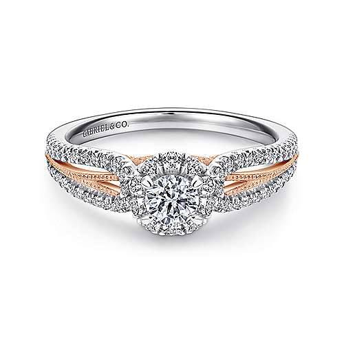 Gabriel - Calypso 14k White And Rose Gold Round Halo Engagement Ring
