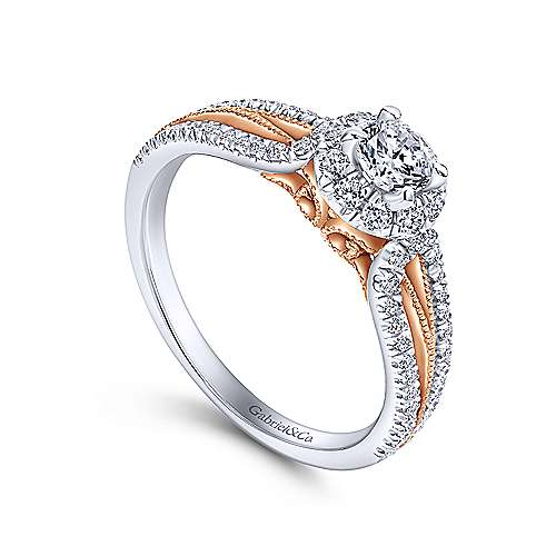 Calypso 14k White And Rose Gold Round Halo Engagement Ring angle 3