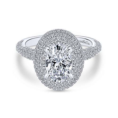 Gabriel - Camellia 18k White Gold Oval Double Halo Engagement Ring