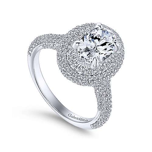 Camellia 18k White Gold Oval Double Halo Engagement Ring angle 3