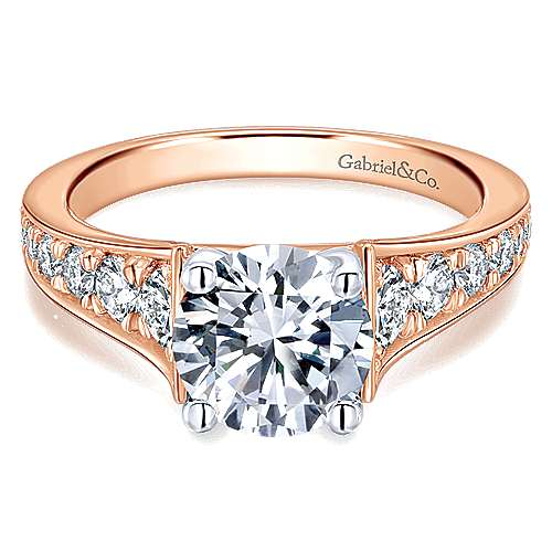 Cameron 14k White And Rose Gold Round Straight Engagement Ring angle 1
