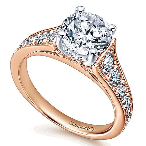 Cameron 14k White And Rose Gold Round Straight Engagement Ring angle 3