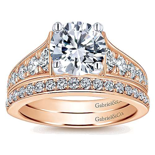 Cameron 14k White And Rose Gold Round Straight Engagement Ring angle 4