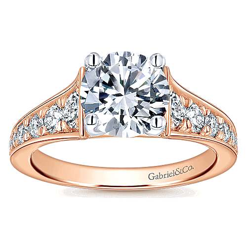 Cameron 14k White And Rose Gold Round Straight Engagement Ring angle 5