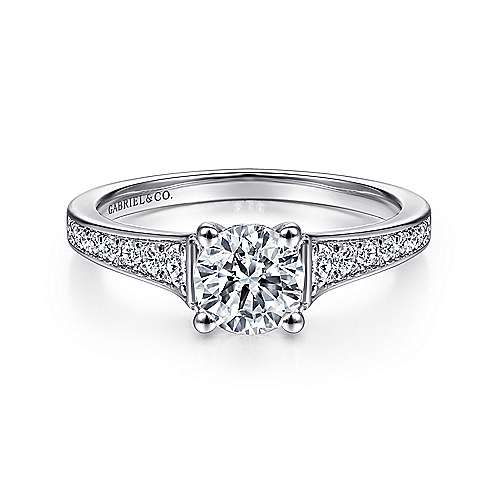 Gabriel - Cameron 14k White Gold Round Straight Engagement Ring