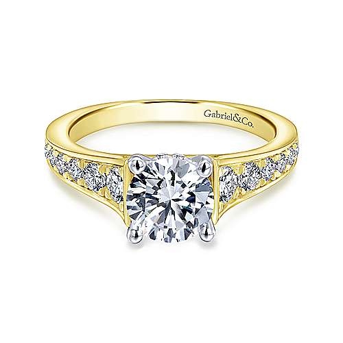 Gabriel - Cameron 14k Yellow And White Gold Round Straight Engagement Ring