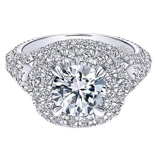 Gabriel - Cami 18k White Gold Round Double Halo Engagement Ring