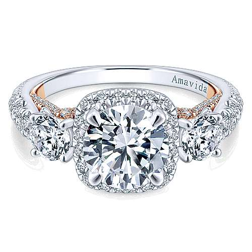 Gabriel - Camilla 18k White And Rose Gold Round 3 Stones Halo Engagement Ring