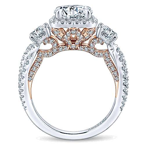 Camilla 18k White And Rose Gold Round 3 Stones Halo Engagement Ring