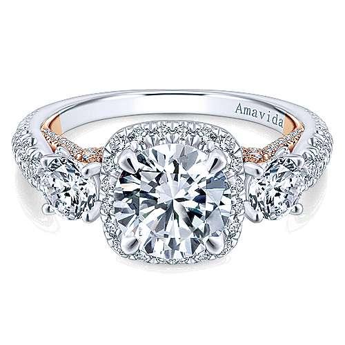 Gabriel - Camilla 18k White/pink Gold Round 3 Stones Halo Engagement Ring