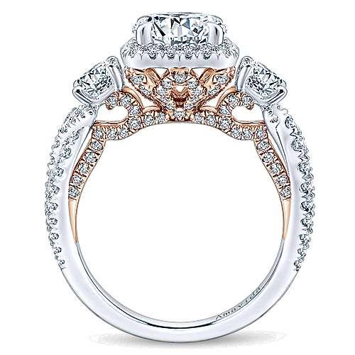 Camilla 18k White/pink Gold Round 3 Stones Halo Engagement Ring angle 2