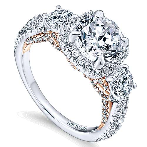 Camilla 18k White/pink Gold Round 3 Stones Halo Engagement Ring angle 3