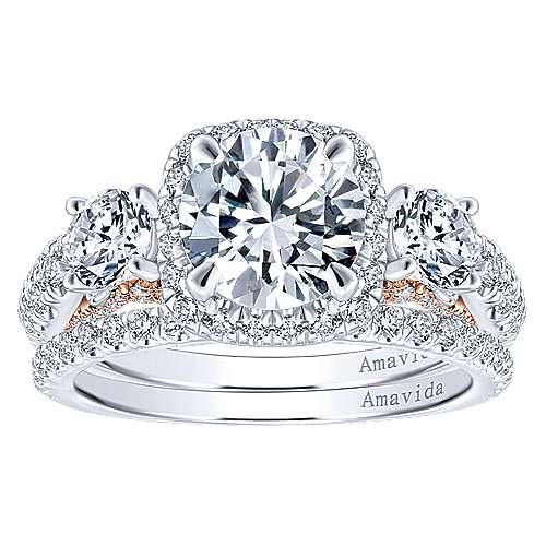 Camilla 18k White/pink Gold Round 3 Stones Halo Engagement Ring angle 4