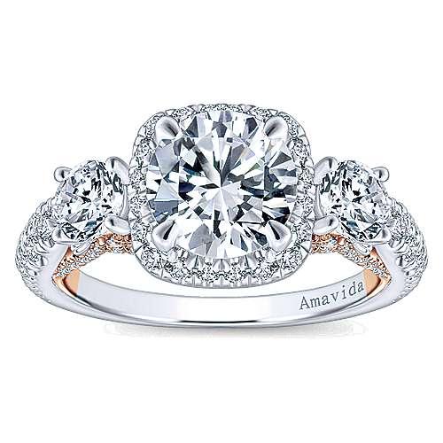 Camilla 18k White/pink Gold Round 3 Stones Halo Engagement Ring angle 5