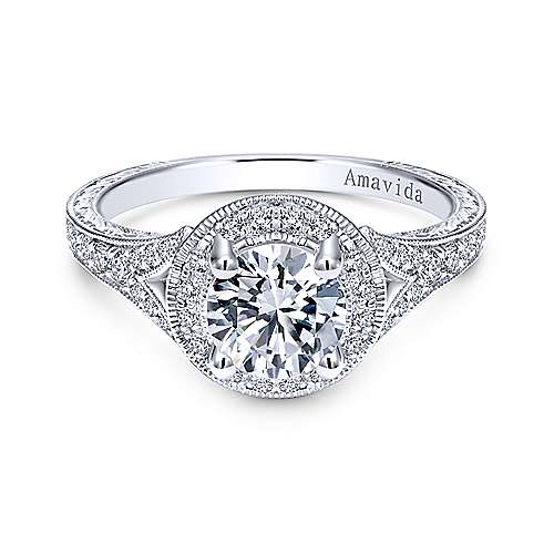 Gabriel - Camlet 18k White Gold Round Halo Engagement Ring