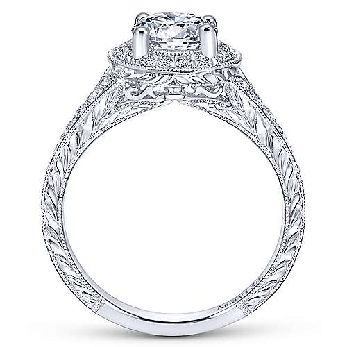 Camlet 18k White Gold Round Halo Engagement Ring angle 2