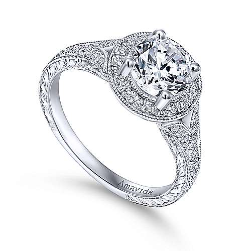 Camlet 18k White Gold Round Halo Engagement Ring angle 3