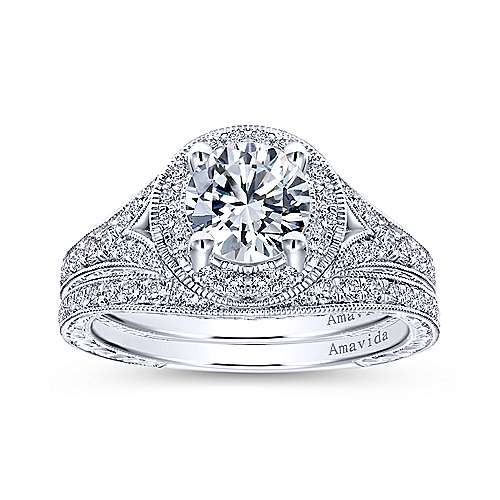 Camlet 18k White Gold Round Halo Engagement Ring angle 4