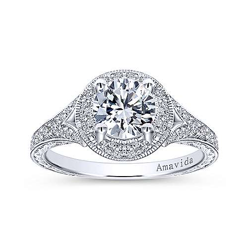 Camlet 18k White Gold Round Halo Engagement Ring angle 5