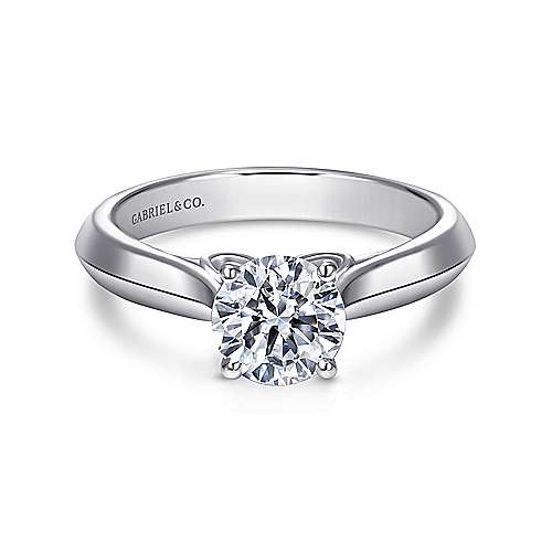 Campanula 18k White Gold Round Solitaire Engagement Ring angle 1