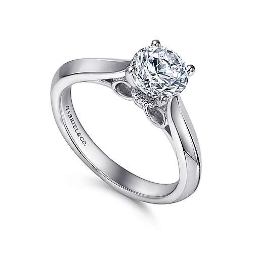 Campanula 18k White Gold Round Solitaire Engagement Ring angle 3