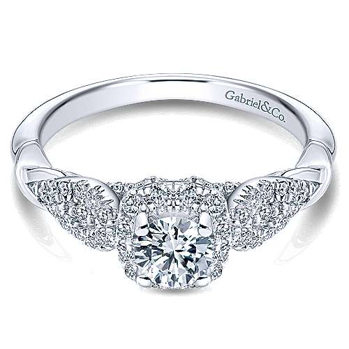 Canvas 14k White Gold Round Halo Engagement Ring angle 1