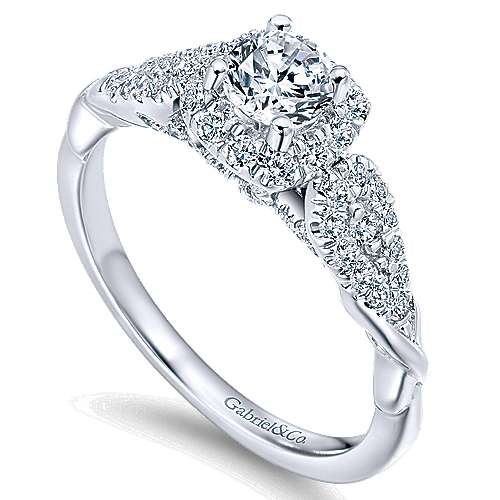 Canvas 14k White Gold Round Halo Engagement Ring angle 3