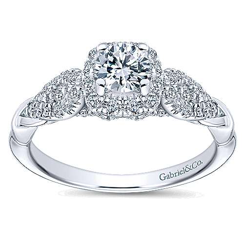 Canvas 14k White Gold Round Halo Engagement Ring angle 5