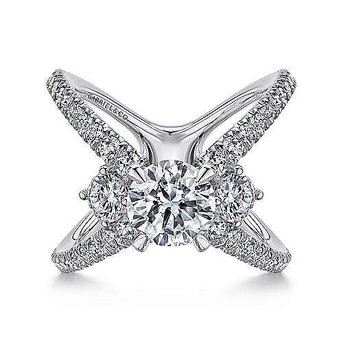 Gabriel - Cara 14k White Gold Round 3 Stones Engagement Ring