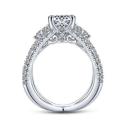 Cara 14k White Gold Round 3 Stones Engagement Ring angle 2