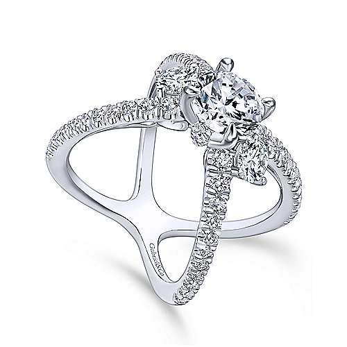 Cara 14k White Gold Round 3 Stones Engagement Ring angle 3
