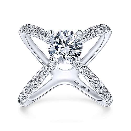 Cara 18k White Gold Round Split Shank Engagement Ring angle 5
