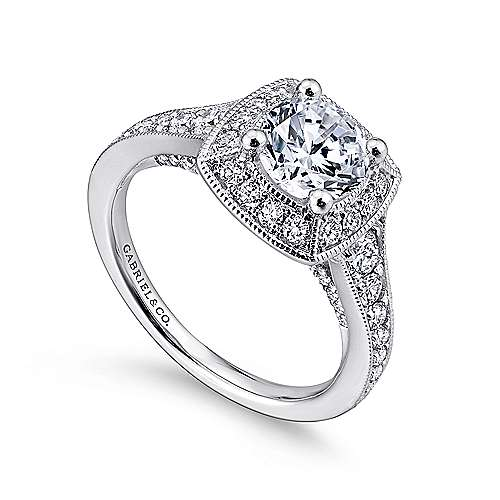 Caraway 14k White Gold Round Halo Engagement Ring angle 3