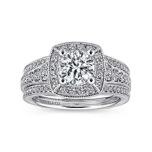 Caraway 14k White Gold Round Halo Engagement Ring angle 4