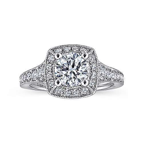 Caraway 14k White Gold Round Halo Engagement Ring angle 5