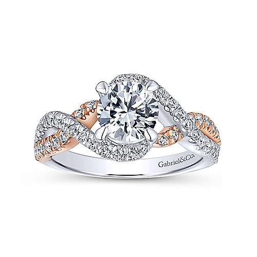 Cardi 14k White And Rose Gold Round Twisted Engagement Ring