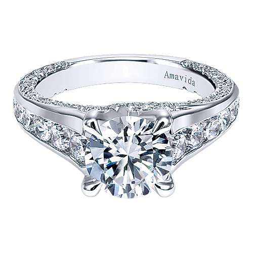 Carela 18k White Gold Round Straight Engagement Ring angle 1