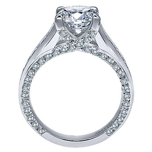 Carela 18k White Gold Round Straight Engagement Ring angle 2
