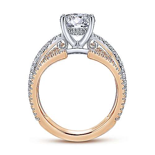 Carissa 18k White And Rose Gold Round Split Shank Engagement Ring