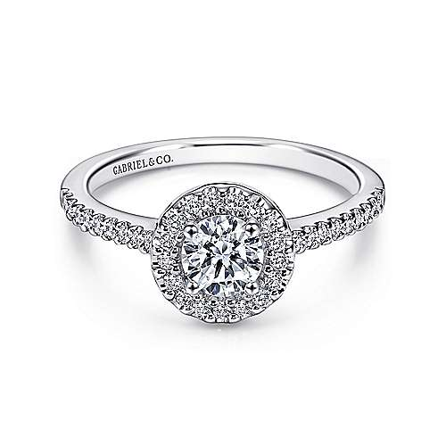 Gabriel - Carly 14k White Gold Round Halo Engagement Ring