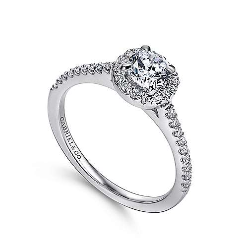 Carly 14k White Gold Round Halo Engagement Ring
