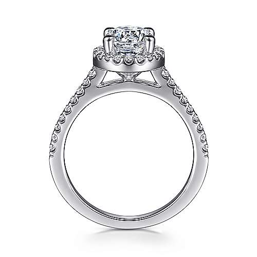 Carly 14k White Gold Round Halo Engagement Ring angle 2