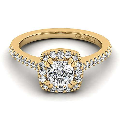 Carly 14k Yellow Gold Cushion Cut Halo Engagement Ring angle 1