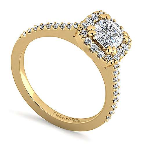 Carly 14k Yellow Gold Cushion Cut Halo Engagement Ring angle 3
