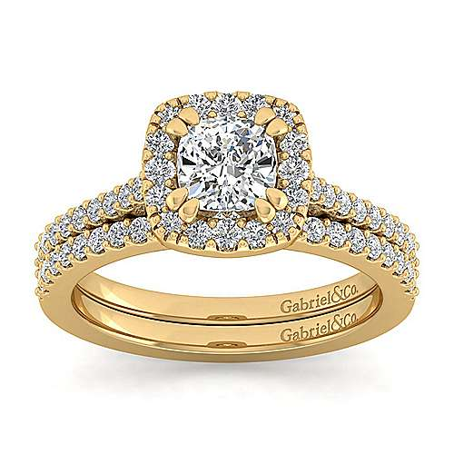 Carly 14k Yellow Gold Cushion Cut Halo Engagement Ring angle 4