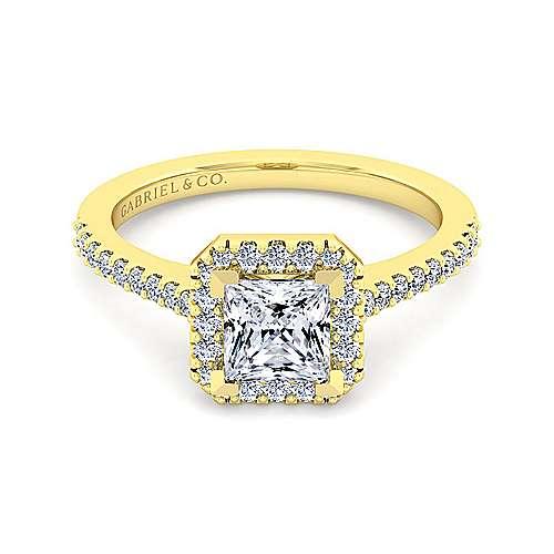 Carly 14k Yellow Gold Princess Cut Halo Engagement Ring angle 2