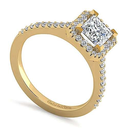 Carly 14k Yellow Gold Princess Cut Halo Engagement Ring angle 3