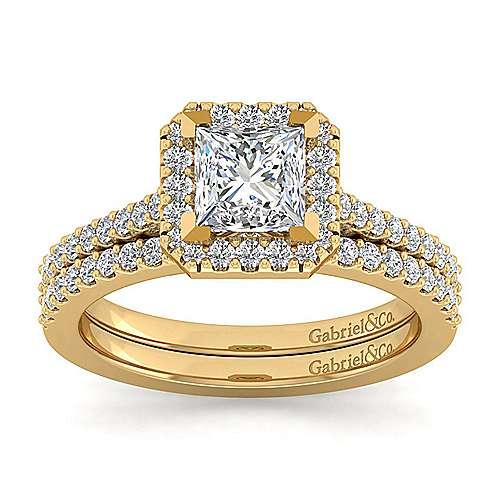 Carly 14k Yellow Gold Princess Cut Halo Engagement Ring angle 4